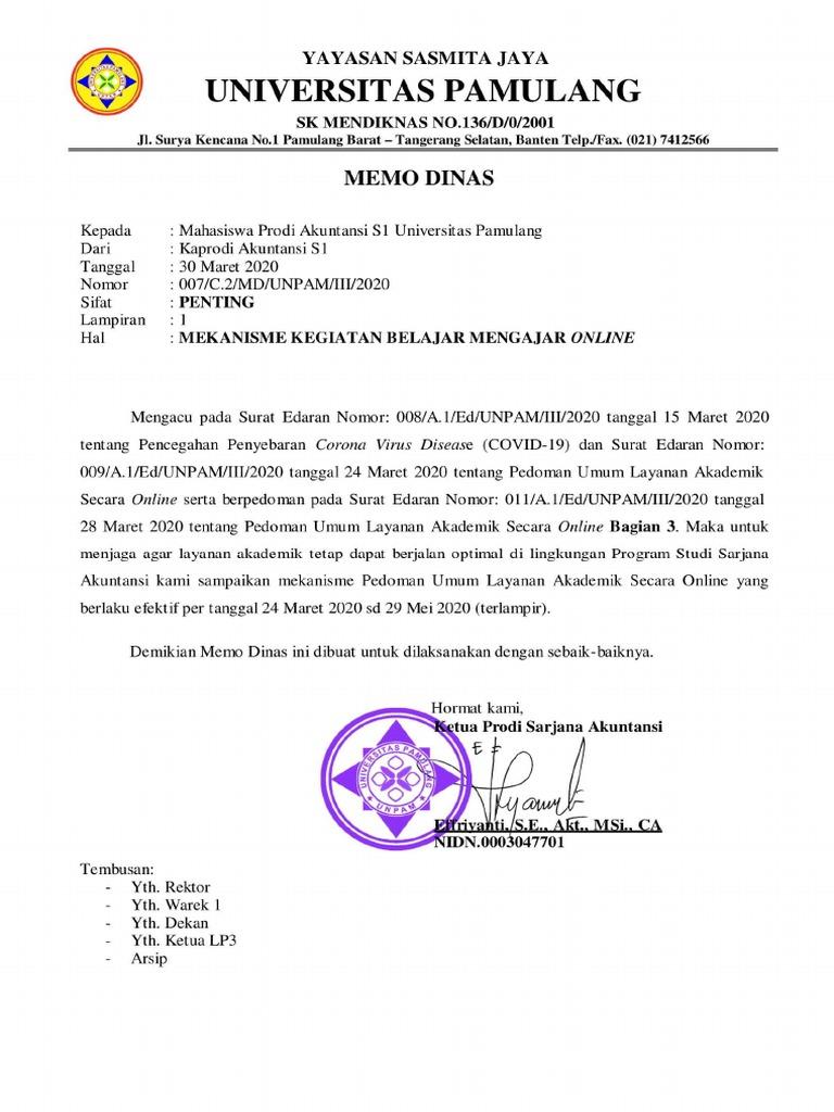 Memo Dinas Mekanisme Kbm Online 30032020 Sarjana Akuntansi Pdf