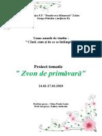Zvon de primăvară-Proiect tematic 2020