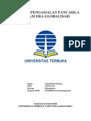 Peranan Pengamalan Pancasila Dalam Era Globalisasi Fakultas Ekonomi Universitas Terbuka Tahun Pelajaran 2020 1