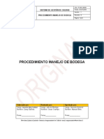 P-SGC-B-001. Procedimiento de Bodega