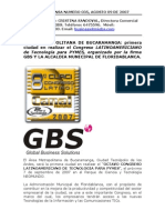 GBS Boletin de Prensa - 2007 - GBS Invita Al Congreso no de Tecnologia Para PYMES