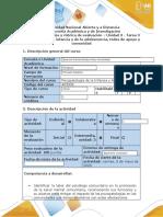 Guía de actividades y rúbrica de evaluación - Tarea 3 - Los trastornos en el contexto social y las redes de apoyo