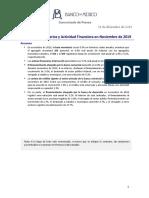 Agregados monetarios y actividad financiera en noviembre de 2019