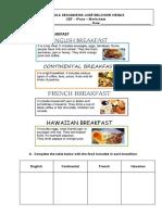 fichas types of breakfast