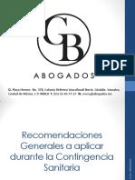 Recomendaciones Generales a aplicar durante la Contingencia Sanitaria G & B A