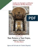 22 de Abril. San Sotero y San Cayo. Santa misa rezada ordinario y propio