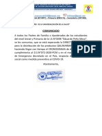 Comunicado a Pp.ff. Qaliwarma