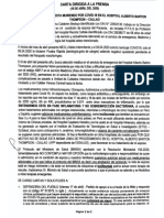 Carta de la Enfermera Salubrista Milena Calderón Bedoya
