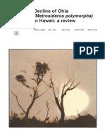 Decline of Ohia (Metrosideros polymorpha) in Hawaii