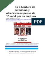 26 Mar 2020_EU acusa a Maduro de narcoterrorismo y ofrece recompensa de 15 mdd por su captura