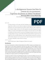 Le développement humain local dans les contextes de crise permanente