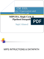 lecture - MIPS ISA, Single Cycle &  Pipelined Datapath