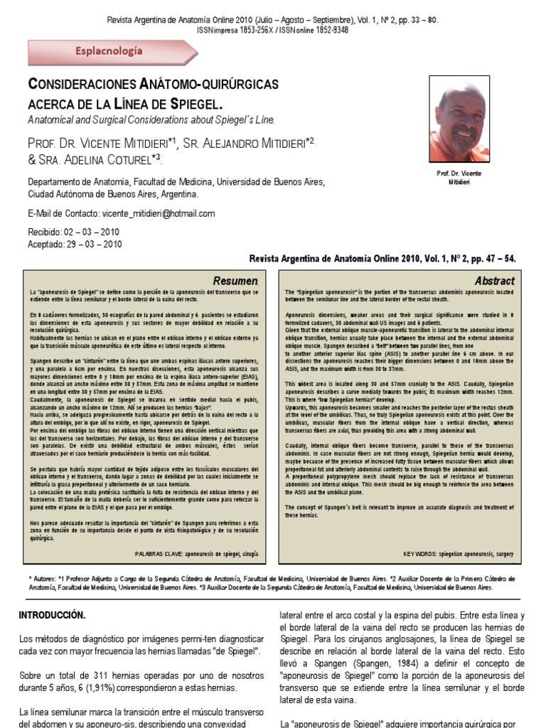 Comentario sobre el trabajo: CONSIDERACIONES ANÁTOMO-QUIRÚRGICAS ...