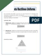 MOVIMIENTO RECTILINEO UNIFORME - SECUNDARIA