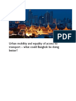 Urban mobility and equality of access to transport
