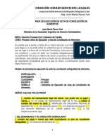 Modelo Demanda Ejecución Acta Conciliación de Alimentos - Autor José María Pacori Cari