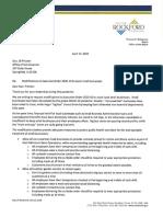 Rockford Mayor Tom McNamara letter to Gov. J.B. Pritzker, April 2020