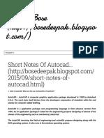 Short Notes Of Autocad... ~ Deepak Bose