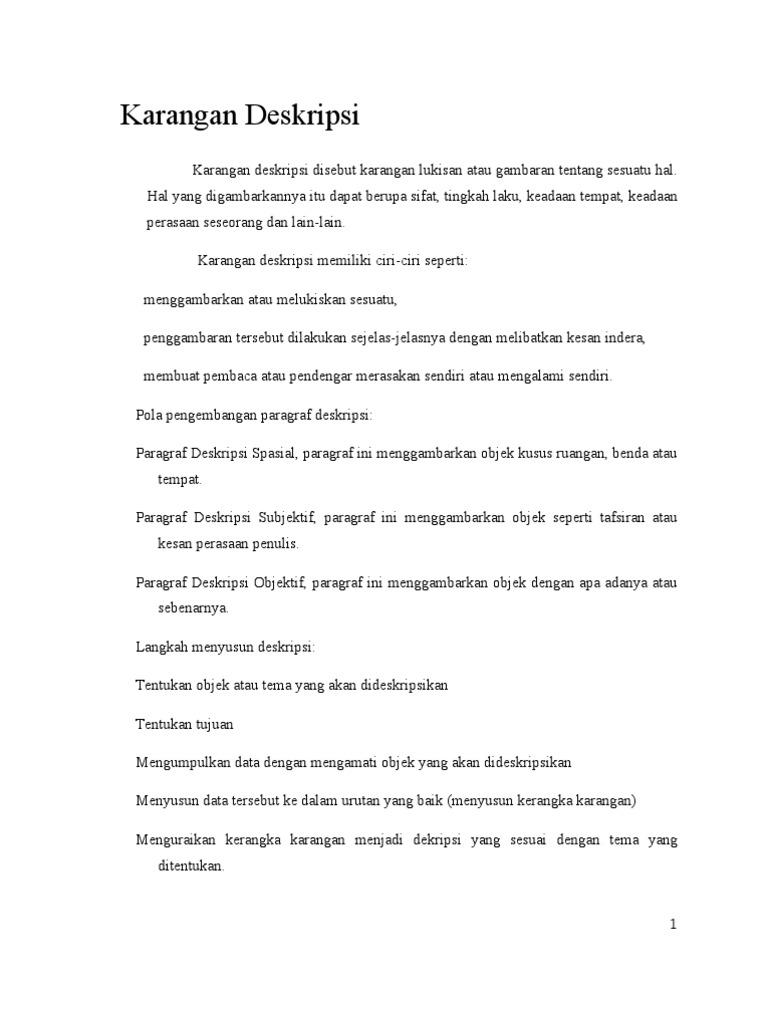 Tugas Bahasa Indonesia Tentang Karangan Dan Contohnya
