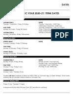 Academic Year 2020-21 Dates