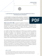 La JEP Rechaza Solicitud de Aclaración Presentada Por La Universidad de Antioquia
