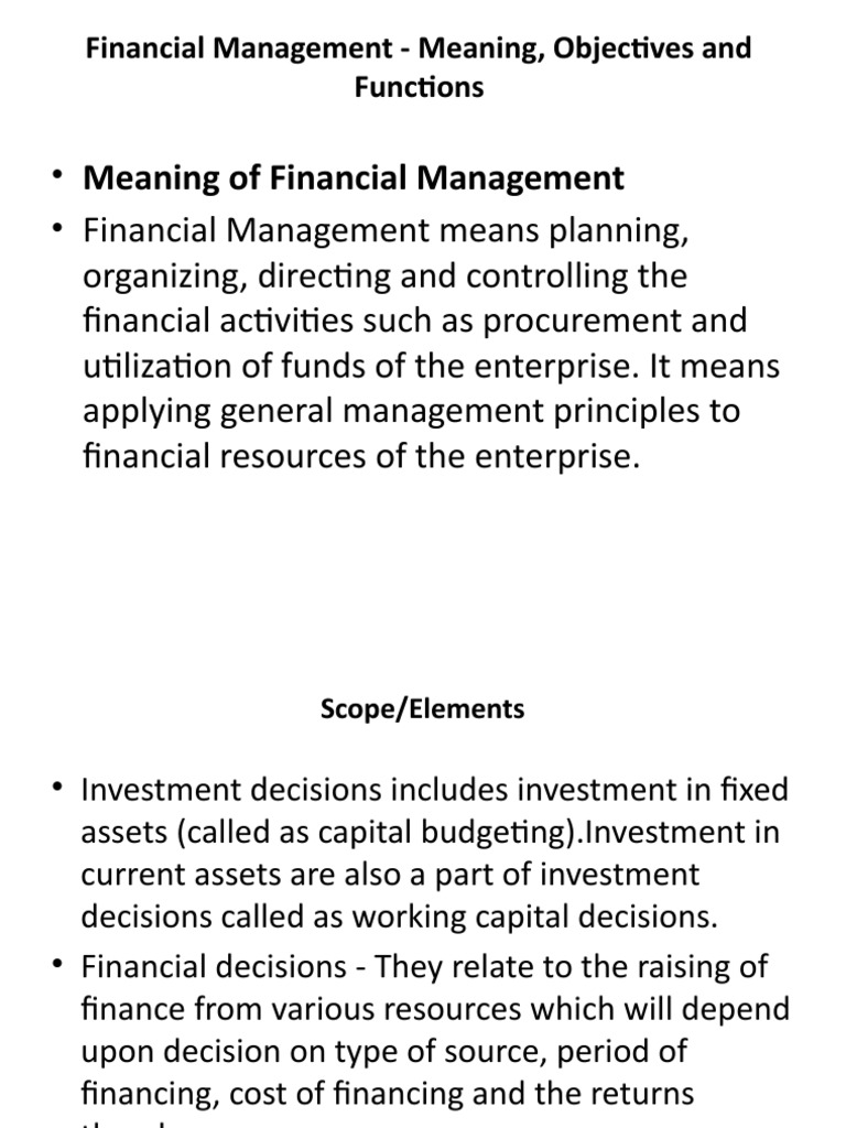 financial management meaning objectives and Definition of financial planning objectives of financial planning role of the finance function in the financial management for corporates.