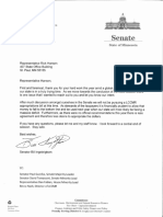 Bill Ingebrigtsen Letter to Rick Hansen on 2020 LCCMR bill
