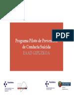 PAIS VASCO Programa Piloto de Prevención de la conducta suicida pais vasco