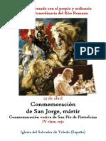 23 de Abril. Conmemoración San Jorge, mártir. Propio y Ordinario de la misa