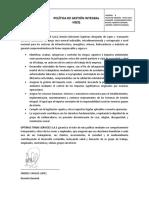 POLITICA INTEGRAL HSEQ-VERSION 8-Actualizacion 2019