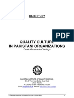 Quality Culture in Pakistani Organizations