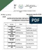 Calendrier des examens Master S3 GFCF 2020