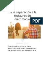 De La Separación a La Restauración Matrimonial