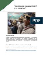 El EFECTO ETNOCIDA DEL CORONAVIRUS 19 EN LOS PUEBLOS INDIGENAS