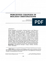 Perceived changes in holiday destinations