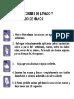INSTRUCCIONES SOBRE LAVADO y DESINFECCIÓN DE MANOS