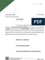 """Sentencia definitiva de primera instancia a José Nino GAVAZZO PEREIRA  por la coautoría de un delito de """"Homicidio"""""""