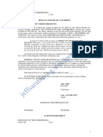 Affidavit - Special Power of Attorney to Sell a Parcel of Land