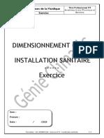 Exercice N°4 DIMENSIONNEMENT D'UNE INSTALLATION SANITAIRE