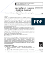 The Nature and Value of Common Sense to Decision Making