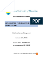 assigment introduction to law and mtius legal system.doc