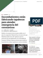Excombatientes están fabricando tapabocas para atender emergencia del coronavirus - COLOMBIA2020