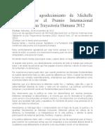 Discurso de agradecimiento de Michelle Bachelet por el Premio Internacional Gabarrón a una Trayectoria Humana 2012
