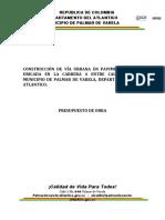 Presupuesto y APU  carerra 4 Palmar de Varela V0