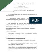 Orientações e Regras para elaboração TCCs - PÓS-GRADUAÇÃO