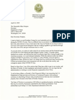 Letter from CFO Jimmy Patronis to Secretary of State
