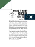 Ernst-Pereira; Varini Muti. O Analista de Discurso em formação. Apontamentos à prática analítica