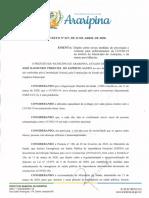 Decreto Nº 027 2020 - Dispõe Sobre as Novas Medidas de Prevenção e Controle Para Enfrentamento Da COVID-19 No Âmbito Do Município de Araripina