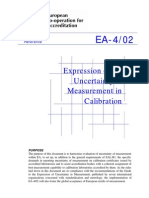 Expression of the Uncertainty of Measurement in Calibration - EA-4-02