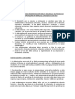 Disposiciones para procesos pedagógicos en  estado de emergencia sanitaria